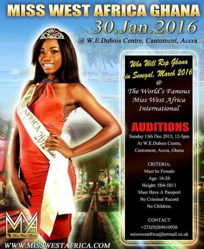 Miss West Africa Ghana Auditions Happens On 13th December